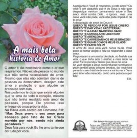 FOLHETOS PACOTE COM 100 UNIDADES / A MAIS BELA HISTORIA DE AMOR