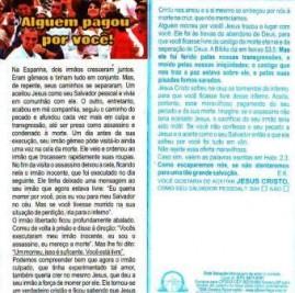 FOLHETOS PACOTE COM 100 UNIDADES /ALGUEM PAGOU POR VOCÊ
