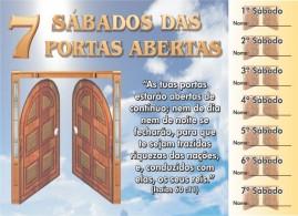 CAMPANHA PACOTE COM 50 UNIDADES 7 SÁBADOS DAS PORTAS ABERTAS