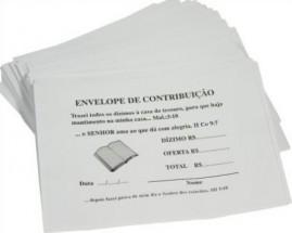ENVELOPE DE DIZIMO BRANCO PACOTE COM 100 UNIDADES