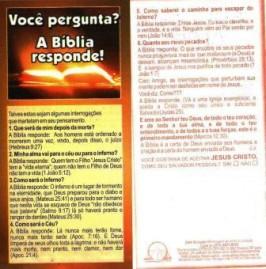FOLHETOS PACOTE COM 100 UNIDADES / VOÇÊ PERGUNTA? A BIBLIA RESPONDE