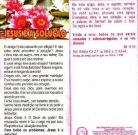 FOLHETOS PACOTE COM 100 UNIDADES / JESUS É A SOLUÇÃO