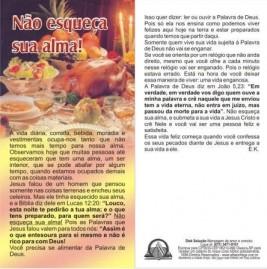 FOLHETOS PACOTE COM 100 UNIDADES/ NÃO ESQUEÇA SUA ALMA