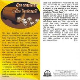 FOLHETOS PACOTE COM 100 UNIDADES / AS CONTAS NÃO BATEM